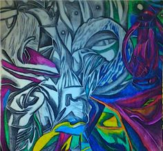 mirrosphere dreamension of a table organizing itself v.3 2012 patrick glassel  ink, pastels, pencils