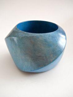 Massive Wood Bangle Bracelet by MONIES Gerda Lynggaard, Blue, Modernist, Vintage