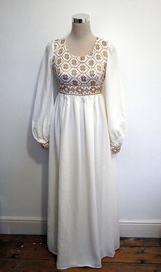 Nearly exact match to my wedding dress. Married in 1974 and with great reluctance tried the dress on yesterday.  Still fits.  Phewww!