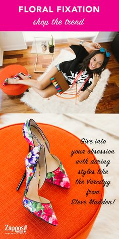 Spring is now in full bloom! One of our favorite trends this season is the floral-print shoes. It's fresh, it's pretty, it's colorful and perfectly complements a neutral outfit. From the office to weekend get-togethers, simply elevate your outfit by limiting the floral print to just the shoes and other small accessories.