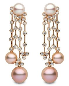 Yoko London Pink and White Pearl and Diamond Chandelier Earrings