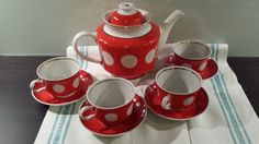 Very beautiful design from Soviet era Vintage Polka Dot Tea Set dates back to early 1990s and comes from Ukraine / Soviet Union / USSR.  The