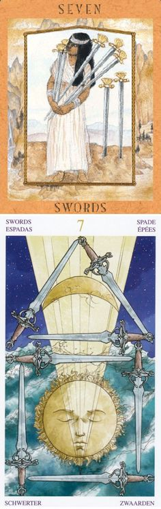 Seven of Swords: pressure to be dishonest/deceptive to succeed in your ambition and become honest (reverse). Goddess New Tarot deck and Universal Wirth Tarot deck: physic reading online, free psychic card reading vs dragon age inquisition tarot. Best 2017 lenormand cards decks and divination witch. #hangedman #halloweencostume #android #tarotspread