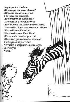 Zebra Question I asked the zebra are you black with white stripes? Or white with black stripes? And the zebra asked me are you good with bad habits or bad with good habits? Ap Spanish, Spanish Lessons, Teaching Spanish, Learn Spanish, Spanish Practice, Teaching Poetry, Spanish Activities, Spanish Teacher, Spanish Classroom