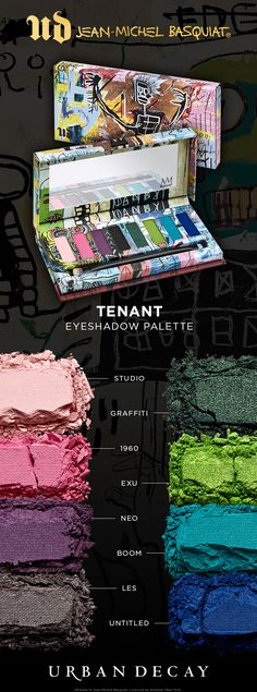 The Tenant Eyeshadow Palette contains eight just-dreamed-up brights based on Basquiat's paintings. Every shade features our proprietary Pigment Infusion System™—for rich, velvety, blendable color that lasts. Plus, we equipped the palette with a double-ended brush.