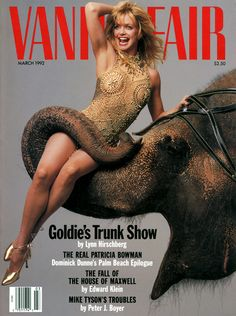 Annie Leibovitz photo of Goldie Hawn on the March 1992 cover of Vanity Fair.
