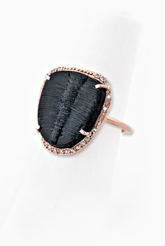 Image of 14K PARTIAL DIAMOND SMALLER TRILOBITE FOSSIL BEZEL RING