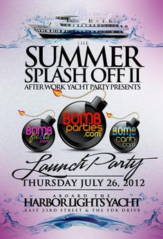 "PRESENTING THE BOMBPARTIES/BOMBPROMOTIONS LAUNCH PARTY  THU JULY 26, 2012  COME & JOIN US @   HARBOR LIGHTS YACHT  AS WE CELEBRATE  THE RISE OF A  ""NEW ERA IN NIGHTLIFE""  AS WE OFFICIALLY LAUNCH  BOMBPARTIES, BOMBFIESTA & BOMBCARIB  NEED TICKETS? WE HAVE TICKETS!!!  ADVANCE TICKETS $20   TICKET SPECIAL!  BUY 4 AND GET ONE MORE! FREE!  ORDER ONLINE   HTTP://BOMBPARTIESSUMMERSPLASHOFF2.EVENTBRITE.COM/  TEXT OR CALL MS.STORM @ 347 746 BOMB (2662)  OR TEXT OR CALL PRINCE @ 917 740 BOMB (2662)"