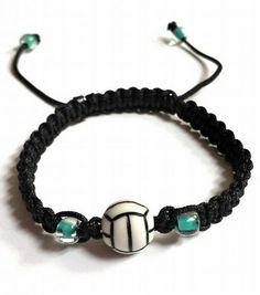 Volleyball Friendship Bracelet accented with Teal Glass Beads by BohemianWrapsody, $7.88 USD
