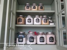 Organize baking stuff in pantry..... jars purchased at Target.... labels made from Vinyl using a Cricut or Silhouette