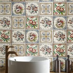 A range of colourful and authentic designs to add colour and grace to bathrooms and showers. Originally this type of tiles would have been used to decorate fireplaces.