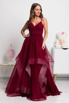 Bordové spoločenské šaty s tylovou sukňou - Mia Dresses Formal Dresses, Red, Fashion, Dresses For Formal, Moda, Formal Gowns, Fashion Styles, Formal Dress, Gowns