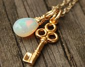 $49.00 Opal and Keys http://www.etsy.com/listing/83035723/white-opal-necklace-october-birthstone?ga_search_query=opal