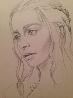 Girl Drawing Sketches, Portrait Sketches, Art Drawings Sketches Simple, Sketch Painting, Pencil Art Drawings, Portrait Art, Dessin Game Of Thrones, Game Of Thrones Drawings, Game Of Thrones Artwork
