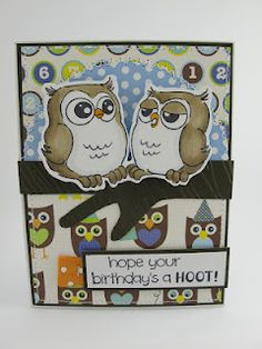 Chatting Whoots Set (4126) card by Maria McGuire for Art Impressions