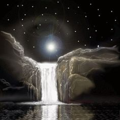 Moving animated running waterfall at night under stars and moonlight Beautiful Songs, Beautiful Pictures, Beautiful Moon, Wicca, Prison, Sweet Dream Quotes, Leopard Shark, Cool Optical Illusions, Most Beautiful Wallpaper