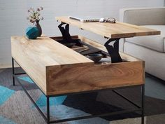 For the living room: a coffee table with hidden storage (that can double as a dinner table).
