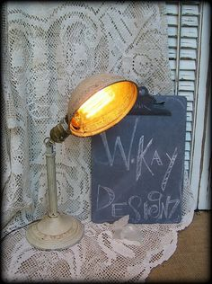 Vintage Chippy Desk Lamp Adjustable Industrial by WKayVintage, $54.00
