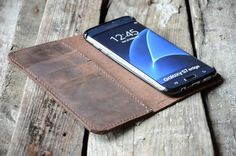 Samsung Galaxy S7 Edge Leather Wallet Case by jinapplehandmade
