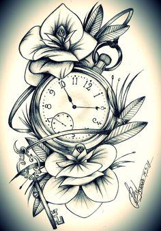 Uhrtattoo - Oberschenkel - My list of the most creative tattoo models Rose Tattoos, Leg Tattoos, Body Art Tattoos, Girl Tattoos, Tattoos For Guys, Tattoo Thigh, Arabic Tattoos, Dragon Tattoos, Thigh Tattoos For Girls