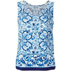 Dolce & Gabbana Majolica Print Top (14,210 MXN) ❤ liked on Polyvore featuring tops, blue, pattern tops, dolce gabbana top, sleeveless tops, print top and dolce&gabbana