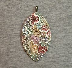 Oval texture pendant polymer clay | Flickr - Photo Sharing!