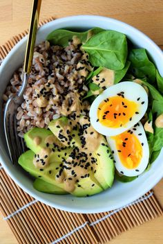 Recipe: Farro, Avocado & Egg Breakfast Bowl with Miso Yogurt