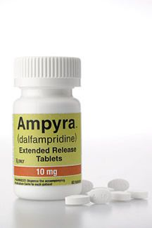 Ampyra 10mg - used to help people with multiple sclerosis and suffer from trouble walking. I take one pill in the morning and one in the night, at least 12 hours apart. It's helping me with my gait disorder.