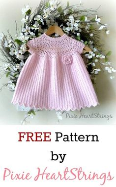 Crochet Baby Girl FREE Crochet baby dress pattern by Pixie HeartStrings - Crochet Baby Dress Pattern, Baby Dress Patterns, Baby Girl Crochet, Crochet Baby Clothes, Crochet For Kids, Free Crochet, Knit Crochet, Crochet Patterns, Crochet Dresses