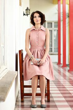 pretty pink shirtwaist dress