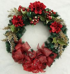 Red Hydrangea Wreath red sparkly bow deco mesh by DesignsOnHoliday Christmas Wreaths For Front Door, Easter Wreaths, Holiday Wreaths, Red Hydrangea, Hydrangea Wreath, Christmas Art, Christmas Decorations, Holiday Decor, Christmas Centerpieces