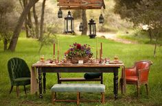 Lovely, vintage setting with hanging lanterns