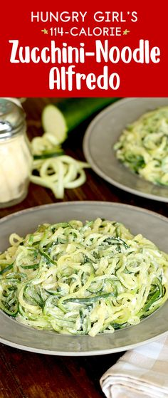 Zucchini-noodle recipe This low-carb spaghetti swap is topped with a creamy low-calorie sauce that tastes like Alfredo 1 2 recipe 114 calories fat Healthy Noodle Recipes, Zucchini Noodle Recipes, Zoodle Recipes, Spiralizer Recipes, Healthy Pastas, Vegetable Recipes, Recipes With Veggie Noodles, Zucchini Spirals Recipes, Veggetti Recipes