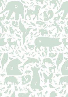 KEK Amsterdam Behang groen/wit Alfabet Beestjes 8,3mx47,5cm 4m² ...