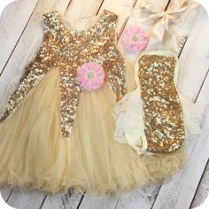 Gold Matching Sister Dress Romper Big and Little Sister