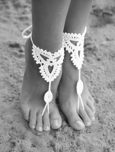 Bridal shoes - Beach wedding White Crochet Barefoot Sandals, Nude shoes, Foot jewelry, Bridal bare foot sandal, Bridal lace shoes, Wedding accessory
