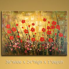 Enchant Original Impressionist Palette Knife Artist Oil Painting For Bed Room Flower. In Stock $158 from OilPaintingShops.com @Bo Yi Gallery/ ops7075