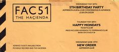 Flyer for May/June 1987 events at Fac 51 The Hacienda including 5th Birthday…