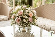 Pink and peach table centrepiece