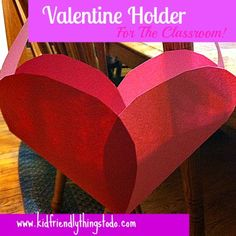 Easy peasy valentine holder made from construction paper hearts. Follow link for directions.