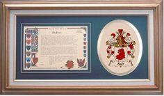 Framed Family Name History w/ Embroidered Coat of Arms: Cossette Jones Family Crest, Sullivan Family, Irish Coat Of Arms, Simmons Family, Cossette, Robinson Family, Spencer Family, Family History, Store