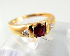 This attractive vintage ruby and diamond ring is made out of 18K stamped solid… $300 @ Ruby Lane