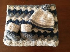 Handmade Crochet baby boy stroller Blanket/ traveller/new born/ boy cozy crochet blanket with a Matching Hat and booties any size you like. on Etsy, $51.56 AUD