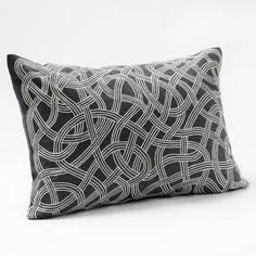 Coyuchi Endless Embroidered Deep Slate Pillow @Zinc_Door