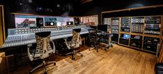 Studio 1 Control Room A Starck design Recording Studio London, Recording Studio Design, Audio Studio, Music Studio Room, Dream Music, Studio Gear, Studio Setup, Recording Equipment, Tropical Houses