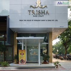 Aluminium Composite Panels (ACP sheet) manufacturer in India. Moreover, best suppliers and distributors of ACP's and wall panels in top metro cities in India. Jewellery Shop Design, Jewellery Showroom, Jewelry Shop, Building Elevation, Front Elevation, Gate Design, Facade Design, Signage Light, Living Room Tv Unit Designs