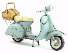 Retro Style 1965 Pale Blue Vespa Motorcycle with Basket Car Model Miniature Hand Made Metal Toy Home Decor Office Decor Gift New Vespa Scooter, Moto Vespa, Vespa Motorcycle, Vespa Scooters, Vespa Models, Dollhouse Kits, Style Retro, 1960s Style, Metal Toys