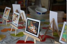 Art party Huge posters on wall mini easels with famous paintings rainbow decor all over sketchbooks as favors lots of art activities Popsicle Stick Art, Popsicle Stick Crafts, Craft Stick Crafts, Fun Crafts, Diy And Crafts, Crafts For Kids, Arts And Crafts, Kunst Party, Wedding Favor Table