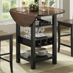 Ridgewood Counter Height Drop Leaf Dining Table with Storage -Black
