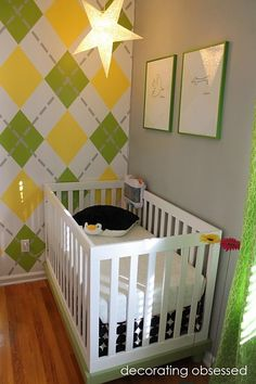 modern yellow and green nursery crib - paint colors: yellow is Sun Shower and the green is Japanese Fern